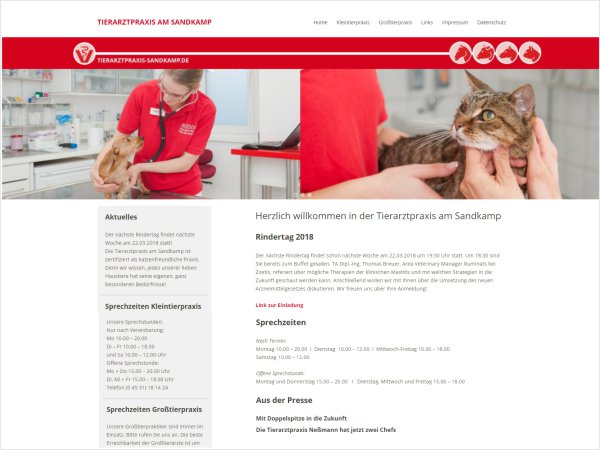 Responsive Webdesign Referenz - Tierarztpraxis am Sandkamp, Bad Oldesloe